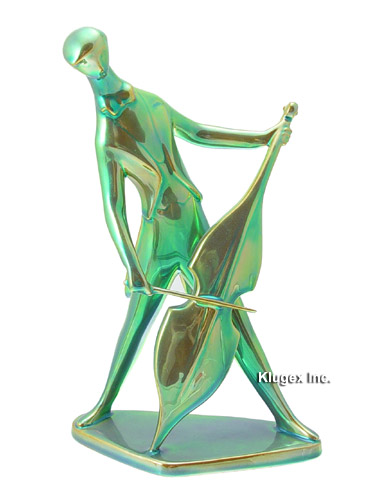 Zsolnay Green Eosin Deco Cello Player