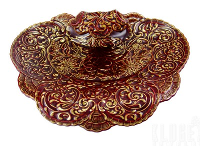 Zsolnay Red and Gold Letter Dish Tray